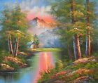 "LANDSCAPE LAKE TREE MOUNTAIN SCENE LARGE ART ORIGINAL OIL PAINTING GIFT 36"" 48"""
