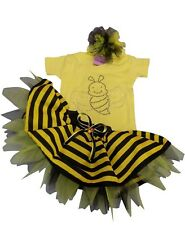 BUMBLE BEE TUTU SKIRT 80S FANCY DRESS SPARKLE BABY GROW TODDLER T - SHIRT KIDS F