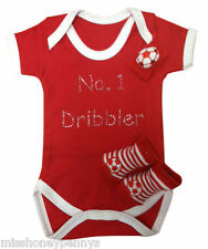 Red Baby Grow Football Fan Dribbler White Socks Sweatband Kids Toddler Set Boy