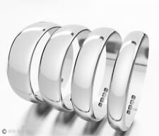 9ct White Gold Wedding Rings D-Shaped Band Fully Hallmarked Half sizes Also