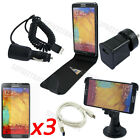 8-1 Leather Case Mount Holder Car Mains Charger For Samsung Galaxy Note 3 N9000