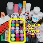 Full Primer 24 Acrylic Powder UV Liquid Nail Art Tips Pens Brush Kits Set 136