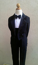 New kids tuxedo with tail black boy formal suit wedding ring bearer  all  size