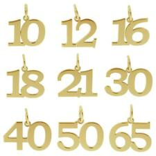 375 SOLID 9CT GOLD BIRTHDAY NUMBER AGE CHARM PENDANT GIFT 10-70