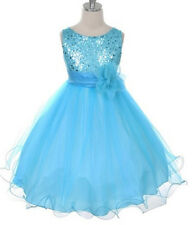 Flower Girls Sequin Glitter Beaded Dress Christmas Pageant Communion Aqua Blue *