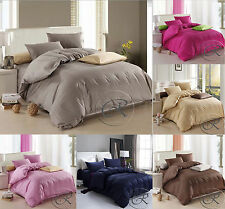 Plain Dyed Duvet Quilt Cover Set With Pillow Cases, Single, Double, King & Sk