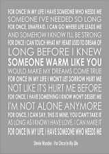For Once In My Life - Stevie Wonder - Word Typography Words Song Lyric Lyrics