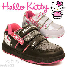 Girls Hello Kitty Trainers Canvas Character Pink Pumps Plimsolls Shoes Velcro