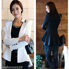 Fashion Women's Ruffles Suit Jacket One Button Slim Casual Blazer Jacket Coat