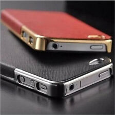 New Fashion Frame Luxury Leather Chrome Hard Back Case Cover For iPhone4 4S 5 5S