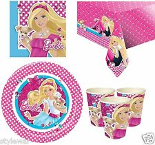 PINK BARBIE BIRTHDAY PARTY SUPPLIES NAPKINS PLATES CUPS TABLECOVER KIT FOR 8-16