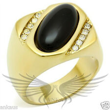 Men's Gold Plated AAA Grade Cubic Zircon CZ Onyx Ring 8 9 10 11 12 13 GL033