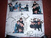 THE BEATLES WALLPAPER Original 1960's BRILLIANT TO FRAME !  MINT 2O INCH SQUARE