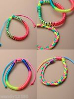 PACK OF 12 BRIGHT NEON CORD FRIENDSHIP BRACELETS : SP-2161 PK12