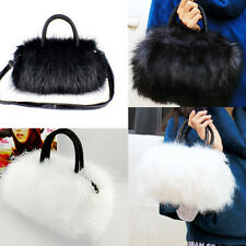 Women Lady Faux Rabbit Fur Handbag Shoulder Messenger Bag Cross Body Tote NIGH
