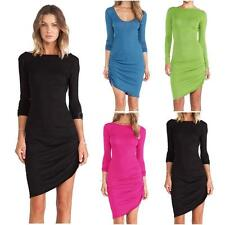 Women Scoop Neck Long Sleeve Slim Bodycon Party Club Candy Color Dress