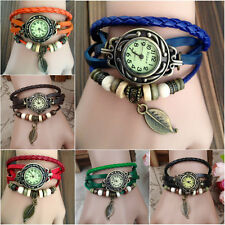 New Women's Fashion Handmade Leather Bracelet Leaf Decoration Quartz Wrist Watch