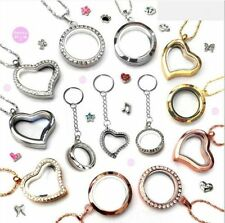 Gold/Silver Living Memory Charm Alloy Round /Heart Rhinestone Locket Necklace