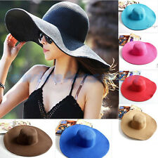 New Women Derby Cap Wide Large Brim Floppy Fold Summer Beach Sun Straw Beach Hat
