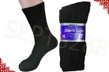3,6,12 Pairs Diabetic Crew Circulatory Socks Health Mens Cotton BLACK
