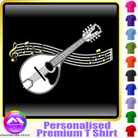 Mandolin Curved Stave - Personalised Music T Shirt 5yrs-6XL MusicaliTee 2