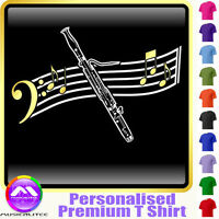 Bassoon Curved Stave - Personalised Music T Shirt 5yrs-6XL MusicaliTee 2