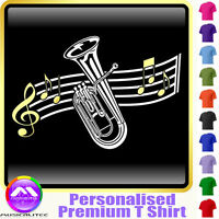 Baritone Curved Stave - Personalised Music T Shirt 5yrs-6XL MusicaliTee 2