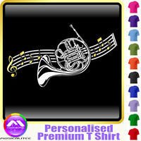 French Horn Curved Stave - Personalised Music T Shirt 5yrs-6XL MusicaliTee 2