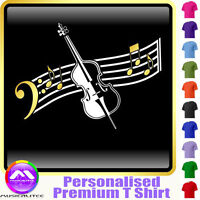 Double Bass Curved Stave - Personalised Music T Shirt 5yrs-6XL MusicaliTee 2