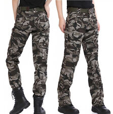 Womens New Combat Camouflage Pants Cargo Military Camo Casual Long Outdoor Trous