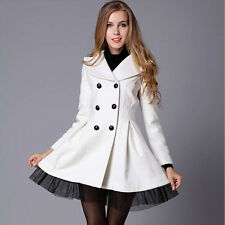 New Women's Woolen Double-Breasted Fitted Flared Peplum Blazer Jacket Coat