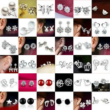 Fashion Women 925 Sterling Silver Crystal Rhinestone Ear Stud Silver Earrings
