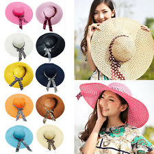 Women Girl  Floppy Derby Straw Hat Wide Large Brim Sun Summer Beach Hat