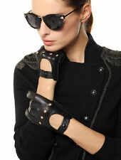 WARMEN Women Genuine Nappa Leather Motorcycle Driving Backless Hole Gloves