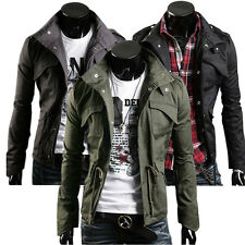 Mens Winter Casual Jacket Military Trench Top Coat Warm Hoodie Jumper Outerwear