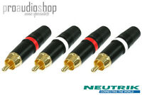2 Pairs Rean (Neutrik) RCA Phono Plugs Red & White (2x NYS373-2 and 2x NYS373-9)
