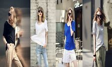 Hot Plus Women's Clothing Blouses Round Neck Bamboo Cotton Soft Solid T-Shirts