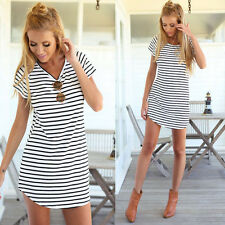 Fashion Women Short Sleeve Striped Casual Long T Shirt Sexy Mini Dress Sundress