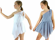 Girls White Silver-Grey Grecian Lyrical Ballet Modern Dance Costume - 6 8 10 12