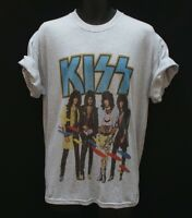 Kiss T-shirt Grey Unisex 1980s Metal Glam Rock Festival Vintage Style Top XL