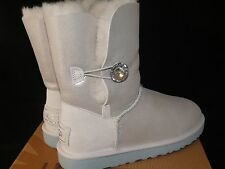 "UGG Australia Women's Bailey ""I DO"" Silver Shimmery White Uggs rhinestone button"