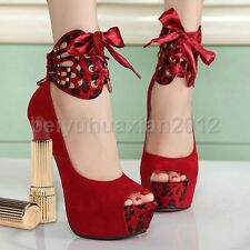 New Womens Suede Ankle Strap Stiletto Pumps Peep Toe Prom High Heels Pump Shoes