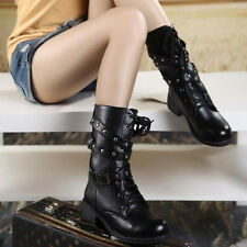 Women Military Combat Boot Motorcycle Riding Lace Buckle Zipper Soda Shoes 5-8.5