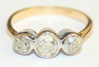 Beautiful Antique 18ct Gold 3-Stone Old Cut Diamond Ring Approx 1.25 cts size M