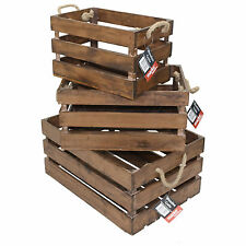 Wooden Slatted Crates Vintage Farm Shop Style Apple Display Rustic Storage Boxes