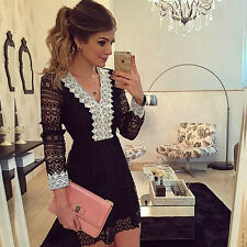 Fashion Black Women Bandage Bodycon Lace Evening Sexy Party Cocktail Mini Dress