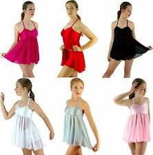 Ladies Girls White Black Pink Modern Dance Lyrical Ballet Costume - 6 8 10 12