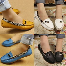 HOT Women Leather Leopard Casual Slip On Dolly Ballet Flat Heel Loafer Shoes M2
