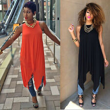 Sexy Women Summer Boho Dress Irregular Hem Evening Party Sundress Vest Pleated
