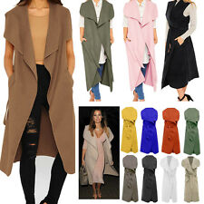 Women Ladies Waterfall Belted Jacket Sleeveless Long Crepe Cardigan Trench Coat